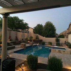 Backyard Pool And Patio Area Of House