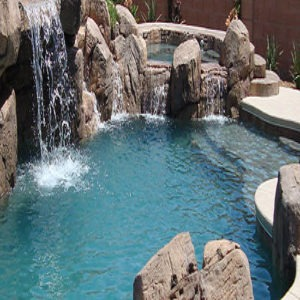 In Ground Pool With Water Fall